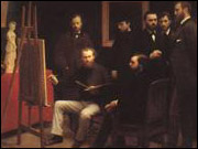 A Studio in th Batignolles Quarter by Fantin-Latour (Renoir is the one wearing the hat)