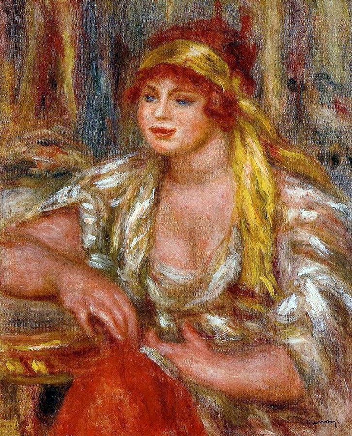 Andree in Yellow Turban and Blue Skirt by Pierre-Auguste Renoir