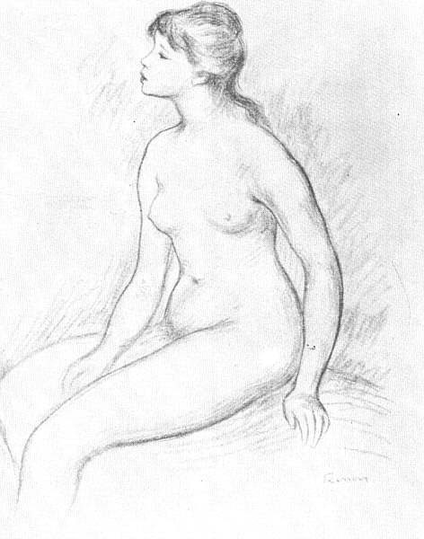 Female Nude Seated by Pierre-Auguste Renoir
