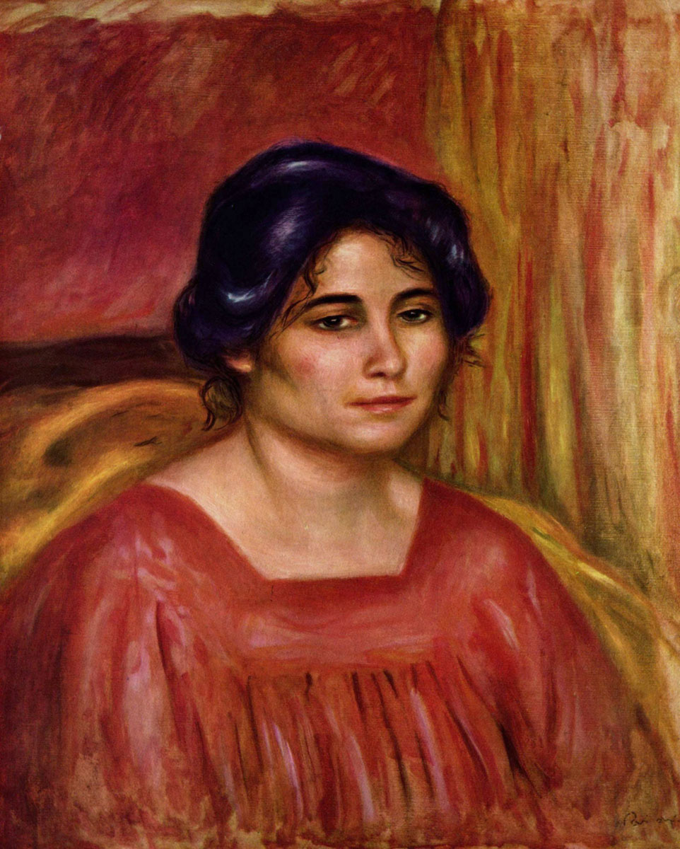 Gabrielle in a Red Blouse by Pierre-Auguste Renoir