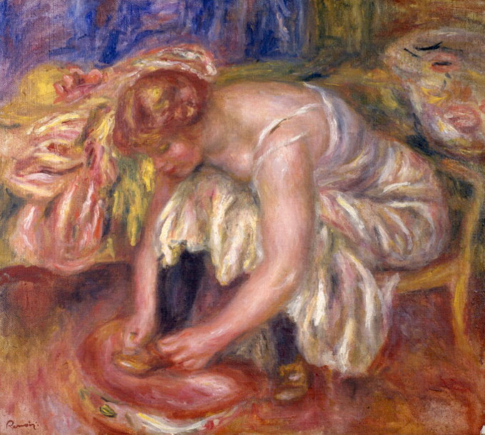 Woman Tying Her Shoelace by Pierre-Auguste Renoir