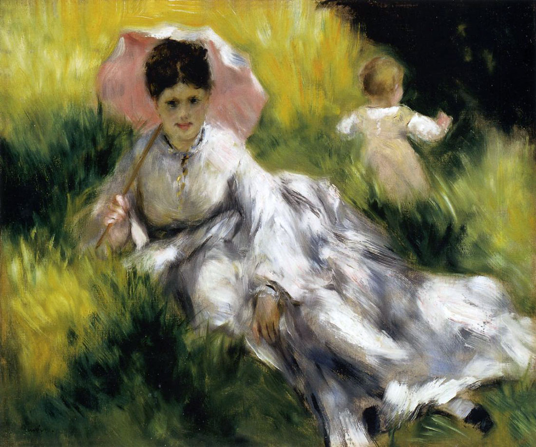 Woman with a Parasol and a Small Child on a Sunlit Hillside by Pierre-Auguste Renoir