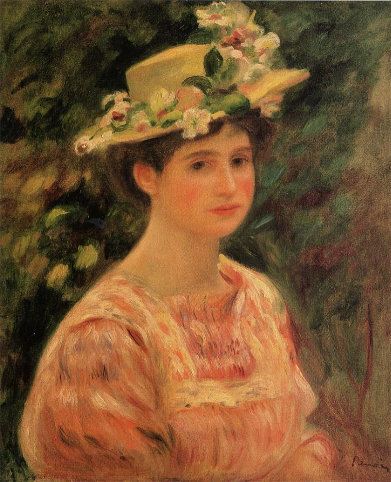 Young Woman Wearing a Hat with Wild Roses by Pierre-Auguste Renoir