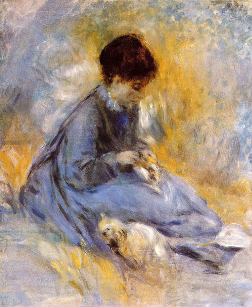 Young Woman with a Dog by Pierre-Auguste Renoir