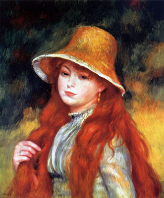 Girl with a Straw Hat by Pierre-Auguste Renoir