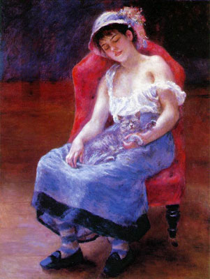 Sleeping Girl with a Cat by Pierre-Auguste Renoir
