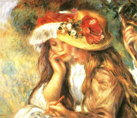 Two Girls Reading in the Garden by Pierre-Auguste Renoir