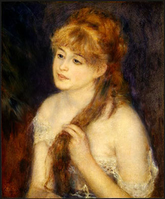 Young Woman Braiding Her Hair (Mademoisells Muller) by Pierre-Auguste Renoir