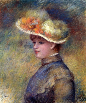 Young Woman Wearing a Hat by Pierre-Auguste Renoir