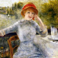 Alphonsine Fournaise on the Isle of Chatou (1879) by Pierre-Auguste Renoir
