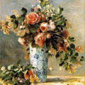 Roses and Jasmine in a Delft Vase (1881) by Pierre-Auguste Renoir