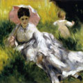 Woman with a Parasol and a Small Child on a Sunlit Hillside (1876) by Pierre-Auguste Renoir